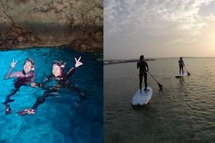 [含那霸市酒店接送] 一次滿足人氣水上活動!青洞浮潛&萬座毛立槳衝浪SUP雙享受之旅!