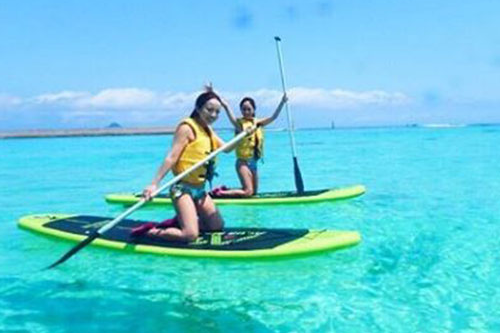 【Cプラン】水納島日帰り海水浴&クリアカヤック体験orSUP体験(スタンドアップパドルボート)